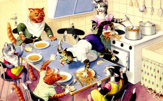 kitty postcard dinner
