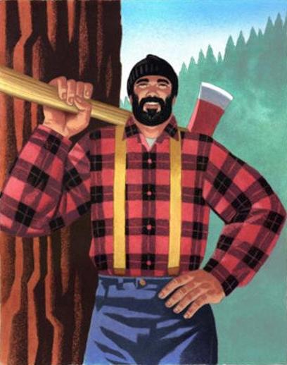 lumberjack painting