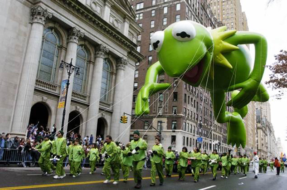 Kermit balloon in parade by Susan Watts