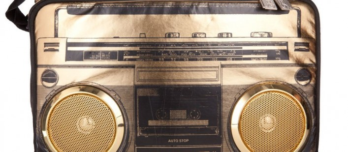 Gold boombox cooler with speakers