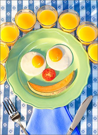 Breakfast funny face card