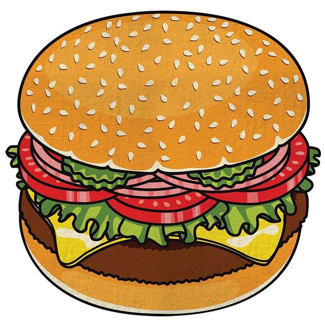 Cheeseburger-Beach-Towel