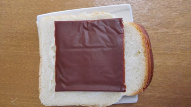 Chocolate-slices-like-cheese-on-bread