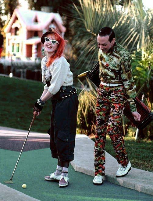 Cyndi Lauper and Pee-wee Herman mini golf