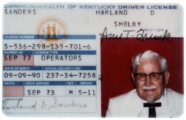 Colonel Sanders driver's license