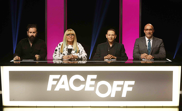 "FACE OFF -- ""Child's Play"" Episode 1002 -- Pictured: (l-r) Glenn Hetrick, Ve Neill, Paul Reubens, Neville Page -- (Photo by: Jordin Althaus/Syfy)"