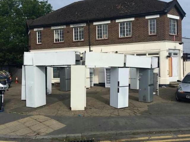 http://peewee.com/2015/06/22/fridgehenge-pranksters-make-a-stonehenge-of-old-fridges/