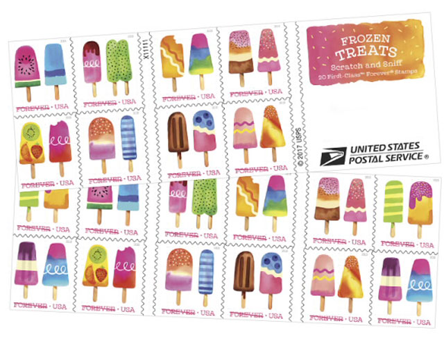 Frozen Treats scratch and sniff postage stamps