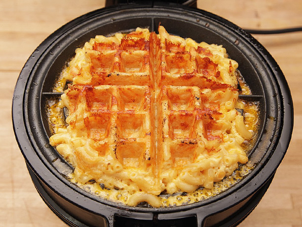 Grilled mac and cheese waffle iron