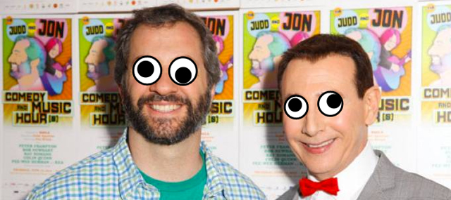 Judd-Apatow-and-Pee-wee-Herman-with-googly-eyes
