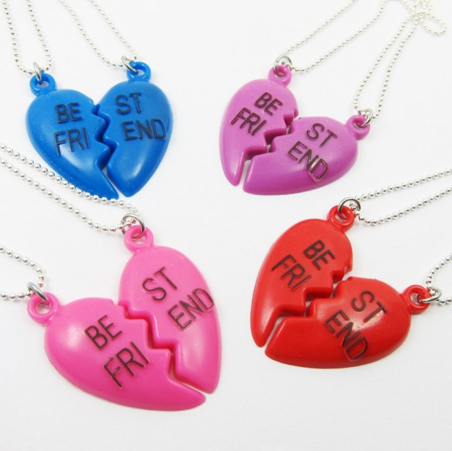 Kitschy bff friendship heart necklace
