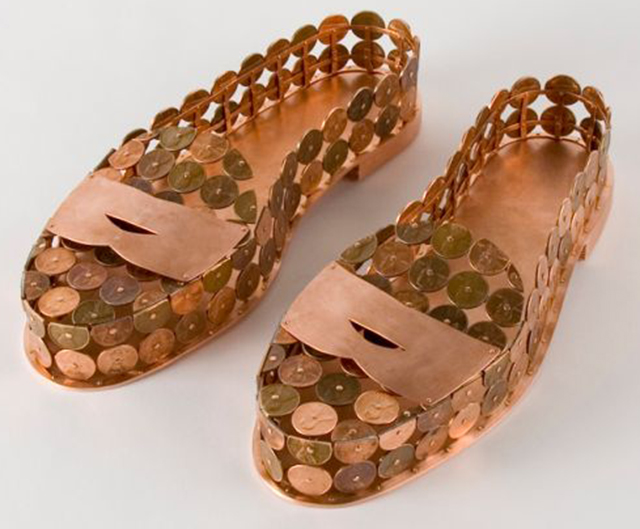 Penny Loafers made of real pennies by Sonya Clark