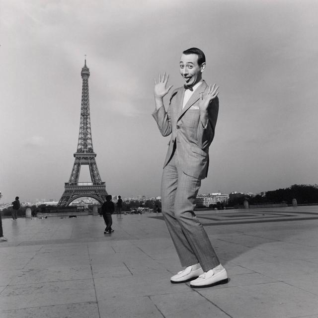 Pee-wee Herman in Paris, France near the Eiffel Tower