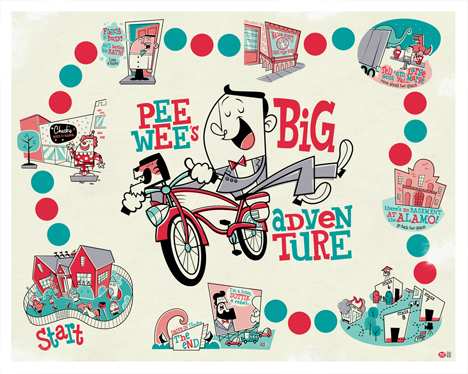 Pee-wee's Big Adventure poster by Montygog