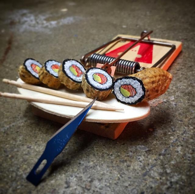 Peanut sushi art by Steve Casino