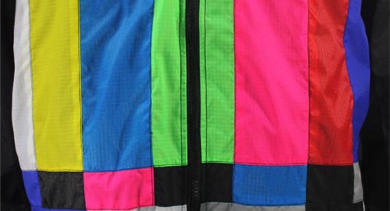 TV color bar windbreaker closeup