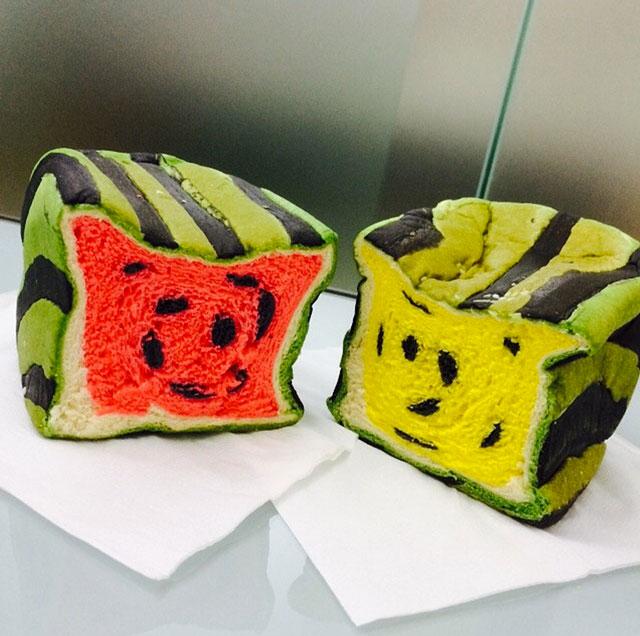 Watermelon toast loaves