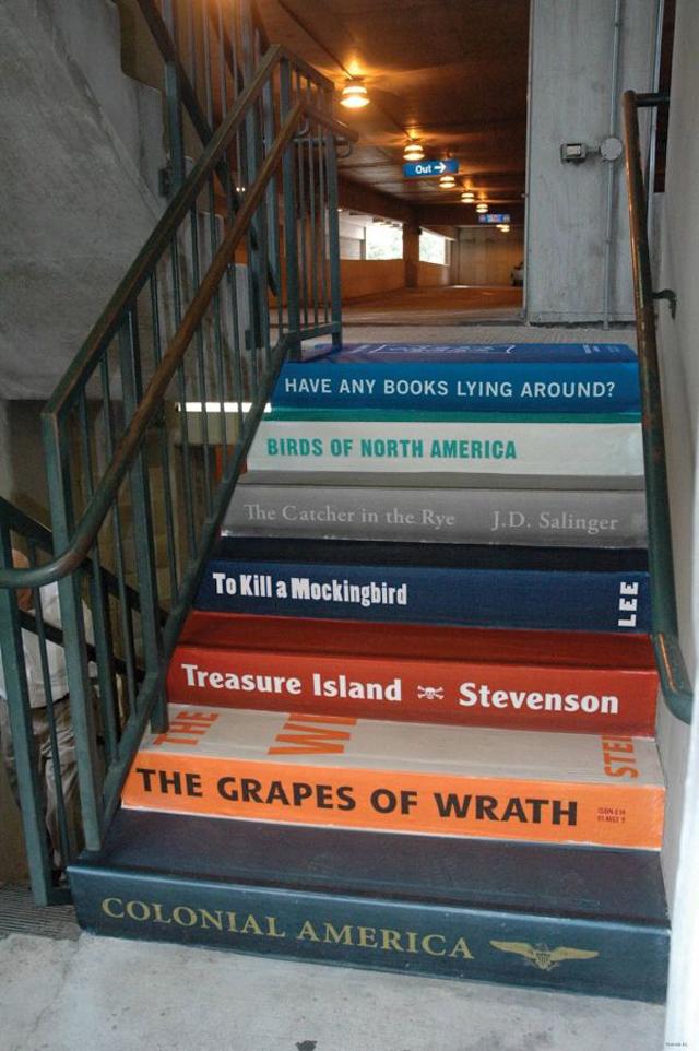 books-stairs