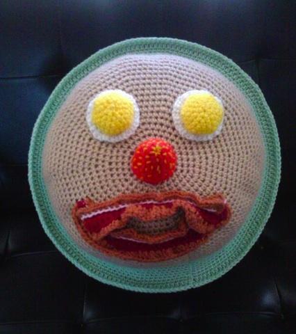 crocheted breakfast funny face