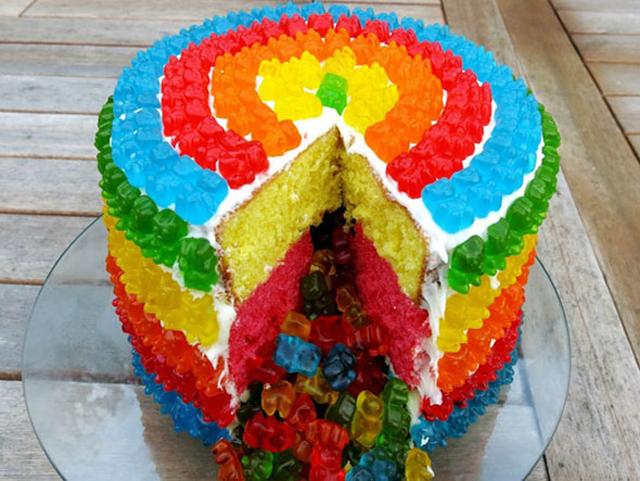 TGIF Rainbow Gummi Bear Piata Cake Pee wees Blog