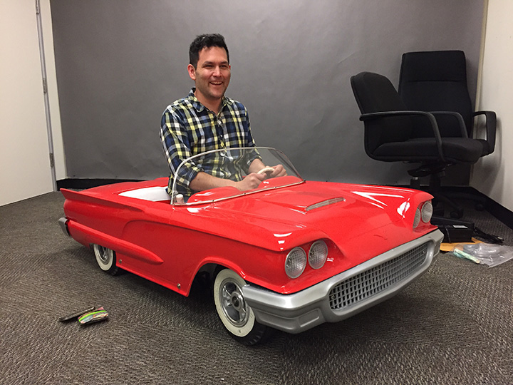 miniature t-bird at Paramount with John Lee