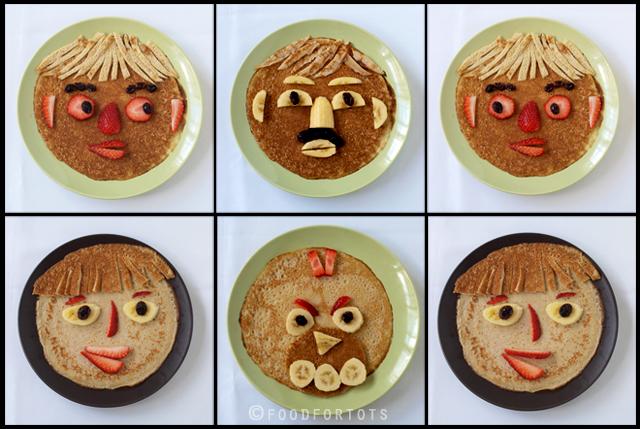 Breakfast crepe faces